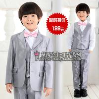 boys linen blazer Child suit male set male child suit set flower girls  formal dress silver grey stripe suit