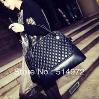 Best Selling!!2013 New Stylish Ladies PU Leather bag women plaid handbag shoulder bags Free Shipping