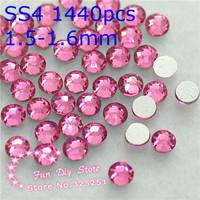 A++ rose non hotfix rhinestone SS4(1.4--1.6mm) 1440pcs/lot
