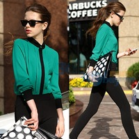 Fashion Vintage Stand Collar Botton Shirt Top Patchwork Causal Elegant Blouse Shirt Women's Green/Pink Freeshipping
