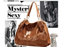 2013 HOT high quality WEIDIPOLO fashion brand Snakeskin Genuine leather women handbag brown bag freeship Promotion,UD115