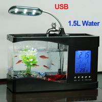 Reliable Quality Black/ White Mini USB LCD Desktop Lamp Light Fish Tank Aquarium LED Clock,freeshipping,dropshipping