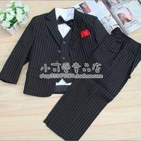 boys linen blazer Child tuxedo male flower girl formal dress child suit 6 piece set black stripe suit child suit