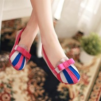 2013 spring color block flat heel cow muscle outsole bow gentlewomen color block women's shoes decoration shoes  + small gifts