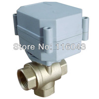 3 way T type 3/4'' electric ball valve DC5V actuator 2 WIRES 1.0Mpa for solar heater water heating pump HVAC fan coil systems