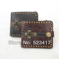 2013 Trendy  new design rivet studs leather wallets Cool  unisex punk rock cross wallets wholesale stylish skull wallets