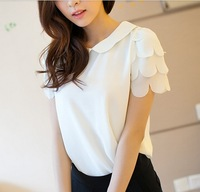 Spring and summer women's peter pan collar petal slim chiffon shirt short-sleeve T-shirt