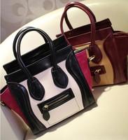 2014 Women Fashion Block Color Smiley Handbag Retro Shoulder Bag Smiling Face Bag Ladies Vintage Totes Sac Bolsas Femininas