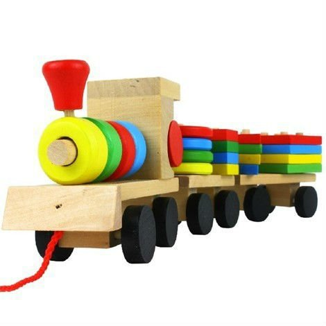 The Shape Of Three Section Blocks Car Small Tractor Train Environmental Protection Wooden Toy Train(China (Mainland))