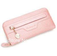 2013 new fashion candy color wallet cowhide woman's purse genuine leather wallet gift box packing high quality