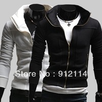 2013 new More zip desinger  thicken fleece stand-up collar sweatshirt men,casual slim fit sport jackets for men.M-XXL,W32