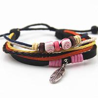 Fashion Sweet Hot Colorful Kniting Womens Mens Rope Cord Bracelets Wood Beads Leaf Pendant Orange Leather Chain Bracelet B012