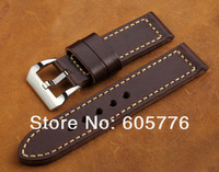 OP-48 New Handmade Vintage dark brown leather watchbands 24mm for Panerai HK post Free shipping