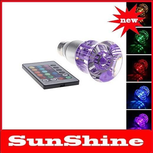Free shipping new E27 3W 240-270LM RGB Light Rose Shaped Crystal LED Spot Bulb (85-265V)(China (Mainland))