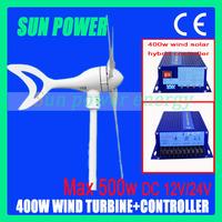 Free Shipping, Max power 500W ,400W 12V/24V Wind Power Generator/Windmill/Wind Turbine/Magnet Wind Kits+Wind Solar Controller