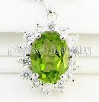 Free shipping Charms pendant Real and natural peridot 925 sterling silver Wholesales Green gems Retails Necklace