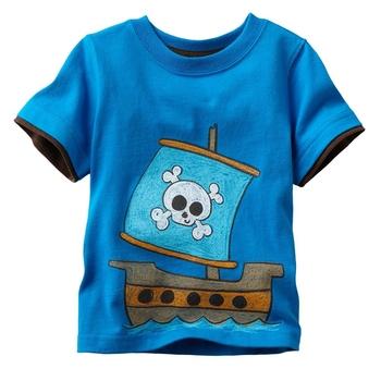 wholesale 2014 summer cartoon t-shirt pirate ship boys t shirt, short sleeve children t shirts, 6pcs/lot,freeshipping, 5762