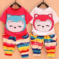 2013 Baby Summer style short-sleeve 100% cotton cartoon set child set Girls' clothes
