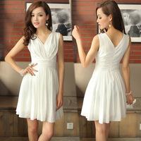 2013 summer women's ol elegant clothing slim white chiffon one-piece dress chiffon