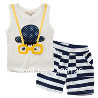 2013 summer cartoon glasses baby vest child shorts set male child sports set
