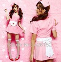 Pink bow belt dress uniforms temptation role playing nurse sexy three-piece waistband pocket