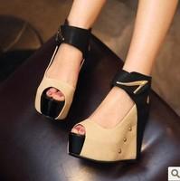 Summer color block decoration platform open toe shoe ultra high heels female sandals wedges platform