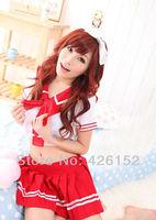 Red split innocent school uniforms school uniforms short-sleeved uniform temptation sexy