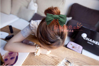 "Hot Sell Retail  7"" large simple color wrinkled chiffon hair bow hair clip barrette F80295 free shipping 9 colors available"
