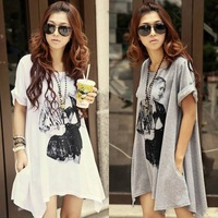 Korean Women Plus size Fashion Beauty Print t shirt Loose Long t-shirt top cotton casual Blouse free shipping