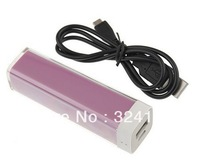 DHL Free Shipping 100pcs 2600mAh External Mobile Battery Charger USB Power Bank for iPhone 5 4S 4 iPod