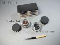 1set/lot High quality brand makeup EYES long-wear gel eyeliner set, 2 colors Black Ink & Sepia Ink kit 3g each! free shipping