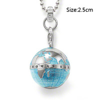 Wholesale Free shipping 925 sterling silver / beautiful / 925 silver necklace with Globe pendant cham NE35