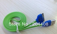 10pc/lot,1m smile face noodle flat cable Sync&Charger cable extension cable for iphone 4,10 colors