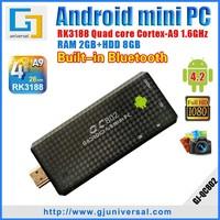 Quad Core Mini PC RK3188 TV Dongle RK3188 1.6GHZ 2GB RAM 8GB ROM Android 4 2 HDMI WiFi Bluetooth XBMC QC802 Freeshipping