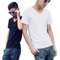 Man summer 13 t-shirt male tight t-shirt solid color male basic shirt V-neck short-sleeve fashion t-shirt male