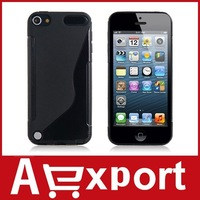 Curved Transparent Pattern TPU Protective Case for iPod Touch 5 (Black) free shipping