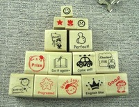 2013 new.15pcs.set  English teachers comments wooden stamp  stamps set.multi-purpose     work.hot sale