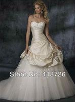 New Elegant White/Ivory sweetheart tulle  Bridal Dress Wedding Dress Gown Custom Size Free Shipping