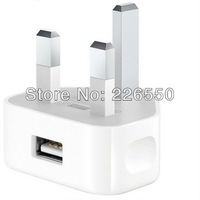 White UK plug 3 pin usb wall charger for iphone ipod ,For iphone 4 4s usb charger