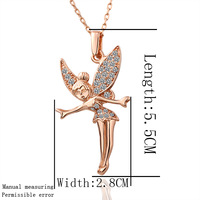 Factory Price Wholesale Fashion Jewelry 18K gold Plated Rhinestone Crystal Necklace LKN18KRGPN011