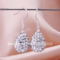 Free shipping Shamballa  Water Drop Earrings Crystal Earring Top Quality Rhinestones Balls Bead Jewelry E079
