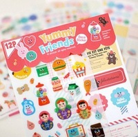 2013 new.    gift Cartoon friends Deco Stickers.note label12sheets.set. Sticker.Sign post.hot sale