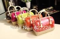 free shipping/New arrival 2013 candy color rivets transparent jelly bag handbag messenger bag small bag female bags