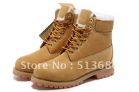 Fashion Men winter outdoor cow leather 100% sheep wool Ankle western walking army combat Martin boots,Rubber Wearproof,Gold40-46