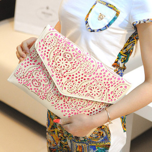 Fashion vintage 2013 neon color cutout envelope bag candy color day clutch women's handbag messenger bag