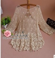 2014 spring new arrival three quarter sleeve loose fashion medium-long crochet lace cutout sweater female shirt
