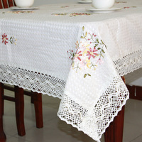 Luxury  fabric beige color  size 150*150cm (59*59inch) square shape embroidery tablecloth lace (XA8)