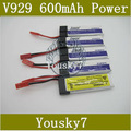 V929 Battery,3.7v 600mAh, Upgrade Version Supper Power, Fly longer Time, RC Helicopter Parts,3pcs/Lot wholesale