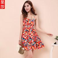 2013 summer women's bohemia floral print spaghetti strap beach dress one-piece dress