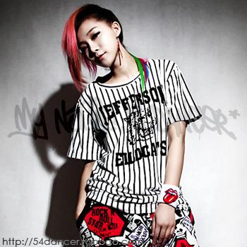 Hiphop 2ne1 hiphop tiger black-and-white 36 baseball shirt bars loose short-sleeve t 0.2(China (Mainland))